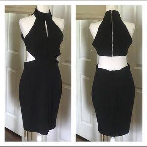 Bebe little black dress LBD cut out sides key hole